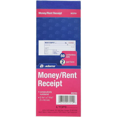 "ADAMS - 2-Part Carbonless Money and Rent Receipt Book 2-3/4"" x 7-3/16"""