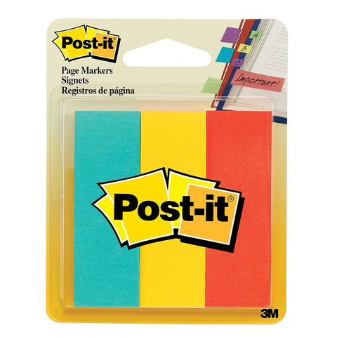 POST-IT - Page Markers Assorted Colors 1 in x 3 in