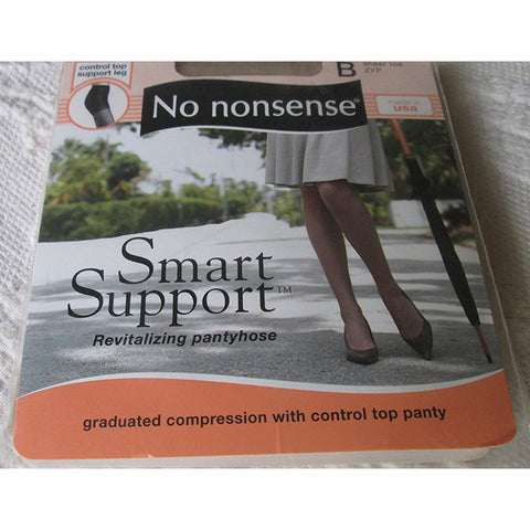 NO NONSENSE - Smart Support Pantyhose, Revitalizing, Control Top, Sheer Toe, Size B, Beige Mist