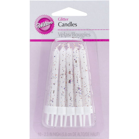 WILTON - White Glitter Candles 2.3-Inch