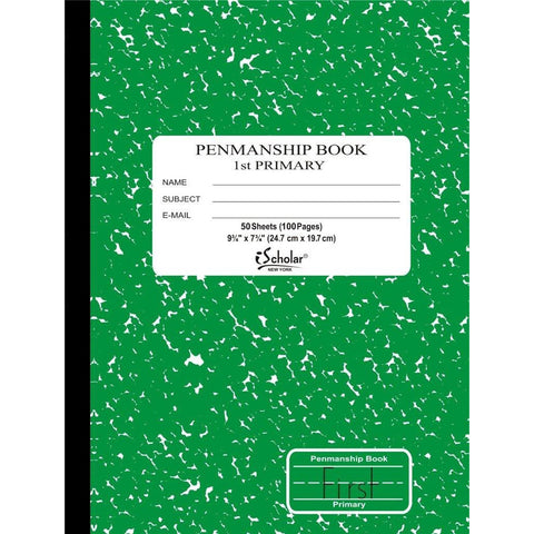 iSCHOLAR - Grade 1 Primary Composition Notebook, 7.5 x 9.75 Inches, Green Marble