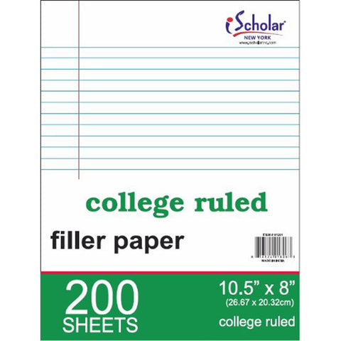 iSCHOLAR - College Ruled Filler Paper, White, 10.5 x 8-Inches, White