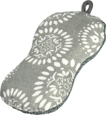 MU KITCHEN - Durable Microfiber Sponge with Scubber, Medallion Gray