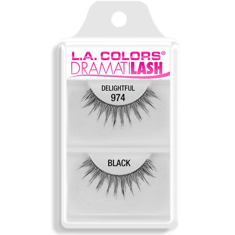 L.A. COLORS - Dramatilash Dainty False Eyelashes Black, Delightful 974