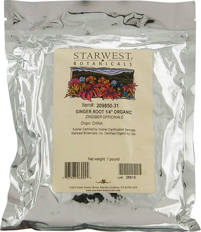 "Starwest Botanicals Organic Ginger Root 14"" CutSifted"