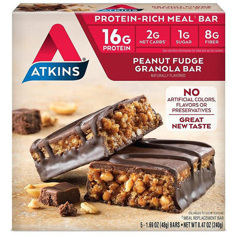Atkins - Advantage Peanut Fudge Granola Bar - 5 x 1.7 oz. Bars