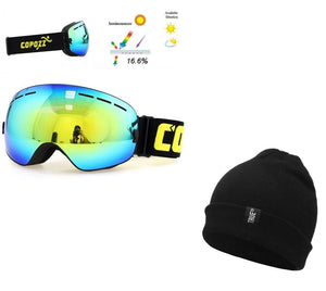 UV400 Anti Fog Ski Snowboard Goggles & Winter Knitted Gnarly Beanie