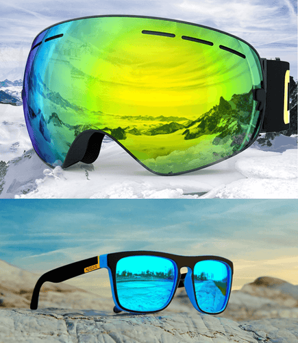 UV400 Anti Fog Snow Goggles & HD Polarized Sunglasses