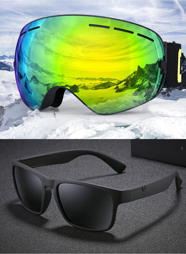 UV400 Anti Fog Snow Goggles & FREE HD Premium Polarized Sunglasses
