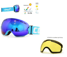 UV400 Anti Fog Ski Snowboard Goggles & Low Light Lens