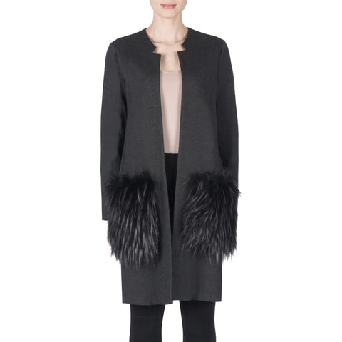 Joseph Ribkoff Coat Style 183333 Charcoal Best Price On Sale