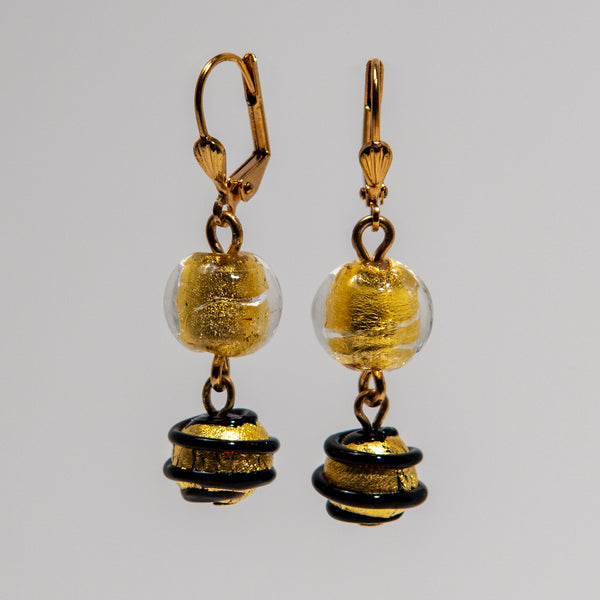 Black and Gold Leaf Glass Earrings