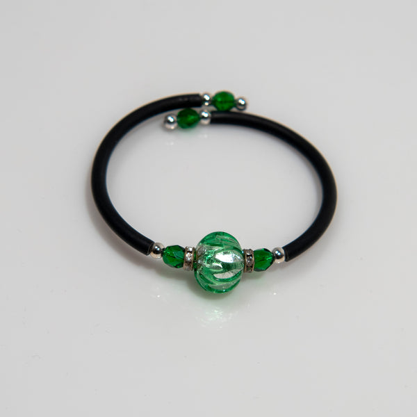 Green with Silver Leaf Glass Wrap Bracelet