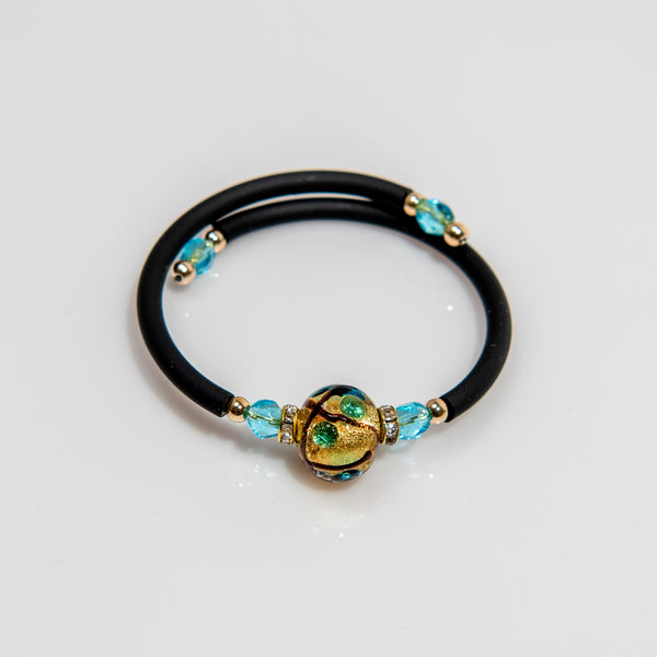 Brown Line and Blue Dot with Gold Leaf Glass Wrap Bracelet