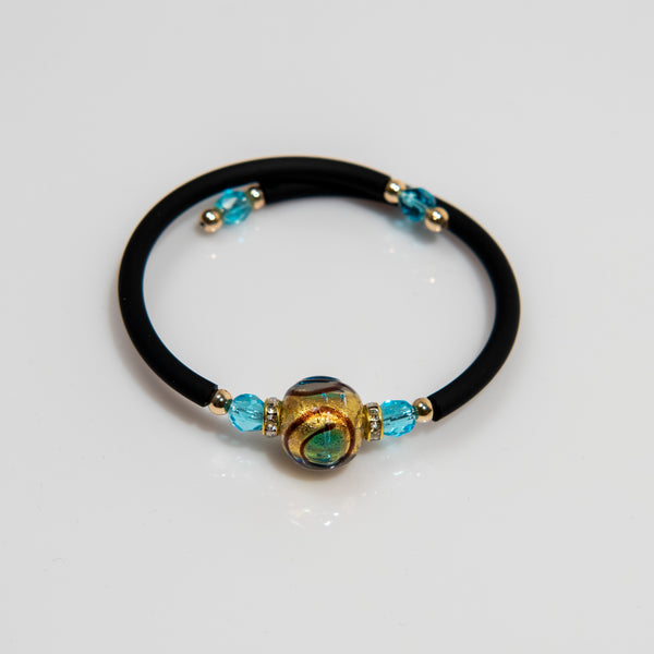 Brown Circle and Blue Dot with Gold Leaf Glass Wrap Bracelet