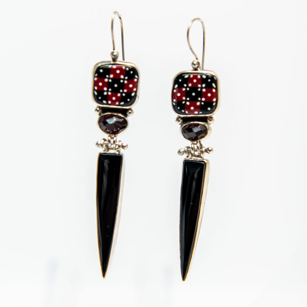 Black and Garnet Long Earrings