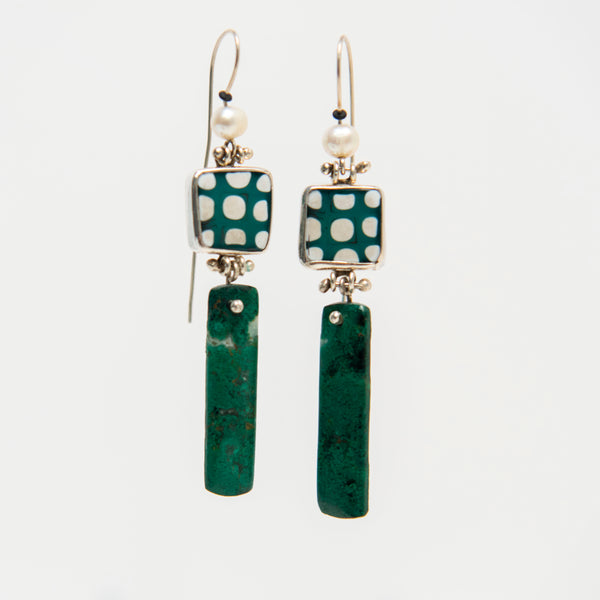 Green Dot, Chrysocolla and Pearl Earrings