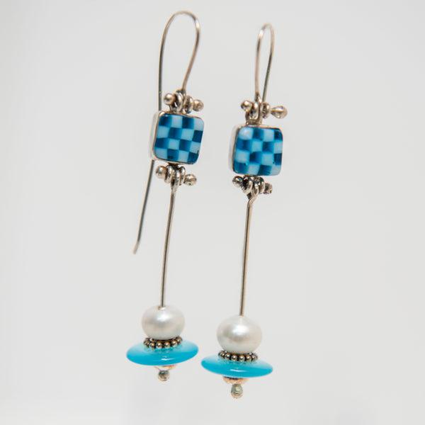 Sky Blue Space Ship Earrings