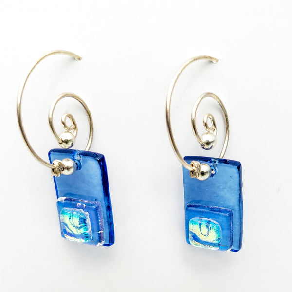 Fused Glass Earrings on Wire, Blue