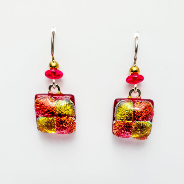 Square Fused Glass Earrings, Pink