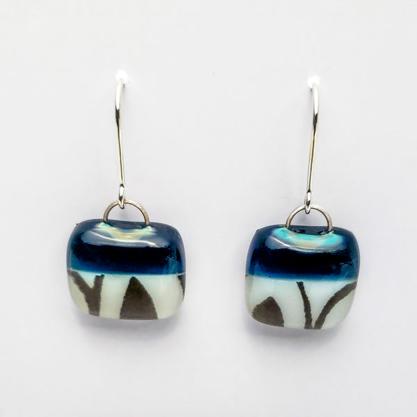 Glass Earrings, Steel Blue