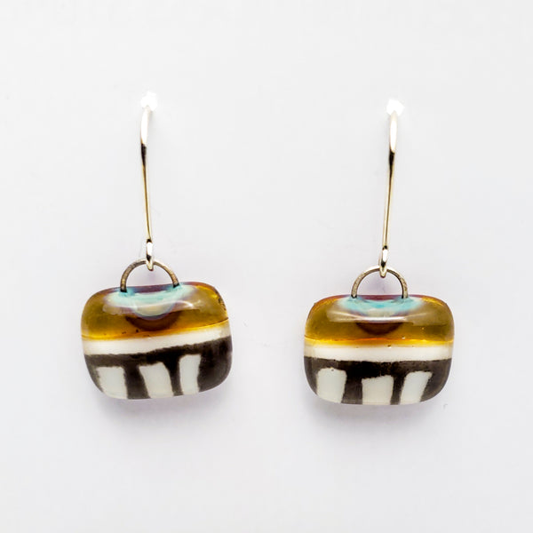 Glass Earrings, Gold