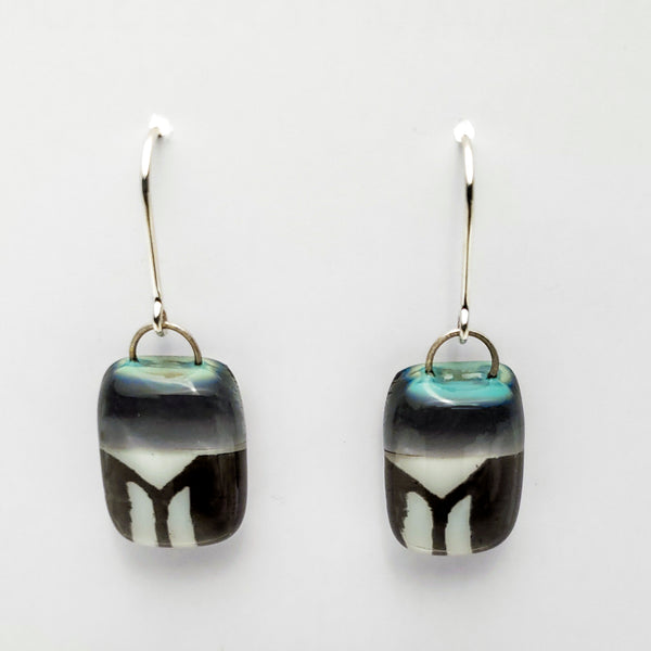 Glass Earrings, Gray