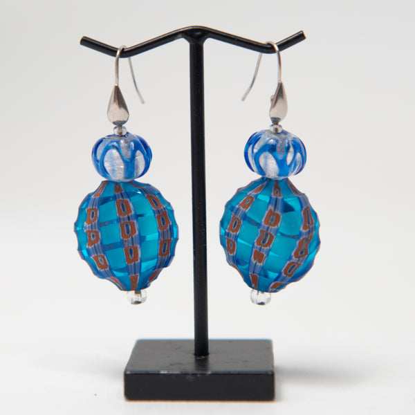 Blue, Red Dot, and Silver Leaf Glass Earrings