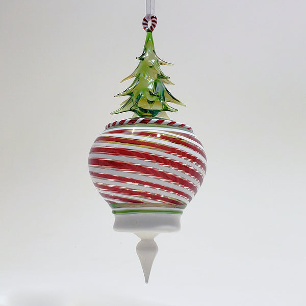 Red and White Striped Ornament Topped With a Transparent Green Tree With A White Opaque Finial