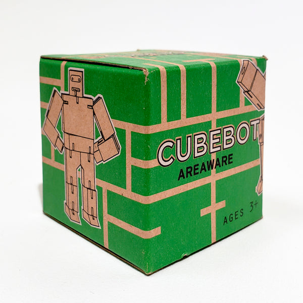 Green Cubebot, Wooden Toy Robot