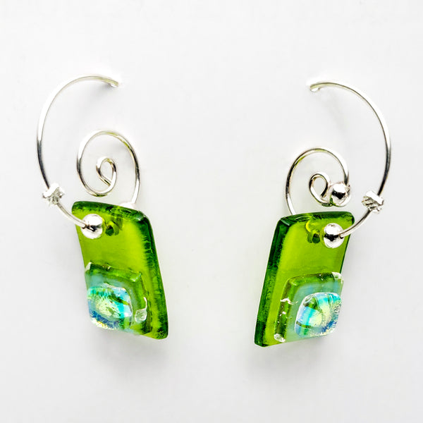Fused Glass Earrings on Wire, Green