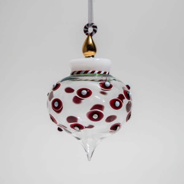 Red and White Dot Ornament