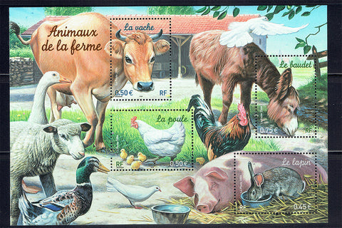 France farm animals postage stamps