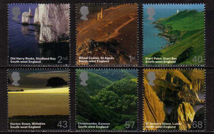 Great Britain 2005 Set of 6 Stamps: South West England, MNH