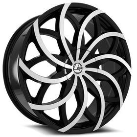 Azara ® AZA-504 Wheels Rims 30x9.5 Blanks (Custom Drilled BP) Black Machine 15mm | AZA-5043095BLANK+15BM