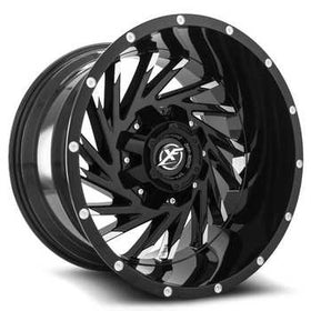 XF Offroad ® XF-209 Wheels Rims 22x10 8x6.5 (8x165.1) 8x170 Black Machine -24mm | XF-209221081651170-24BM