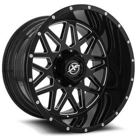 XF Offroad ® XF-211 Wheels Rims 20x9 5x4.5 (5x114.3) 5x127 (5x5) Black Milled -12mm | XF-211209051143127-12GBM