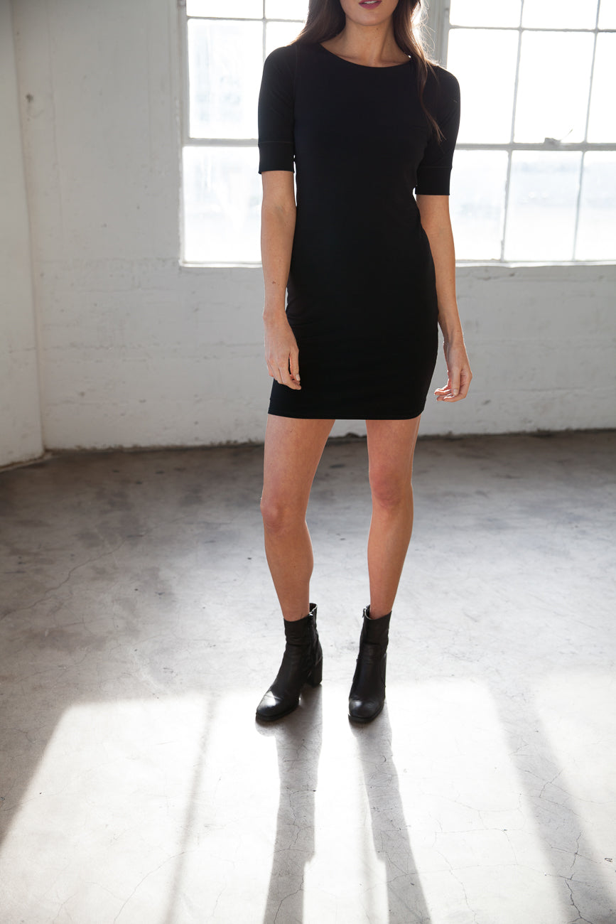 Houston<br> Classic Banded Sleeve Tee Dress