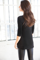 Philadelphia<br> 3/4 Sleeve Loose Fitting Style Asymmetrical Hem