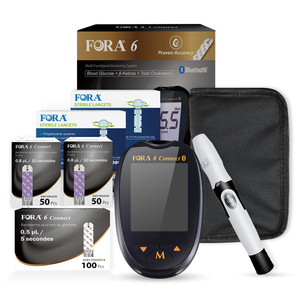 Fora 6 Connect Ultimate Kit (100 pcs Glucose strips and 100 pcs Ketone strips)