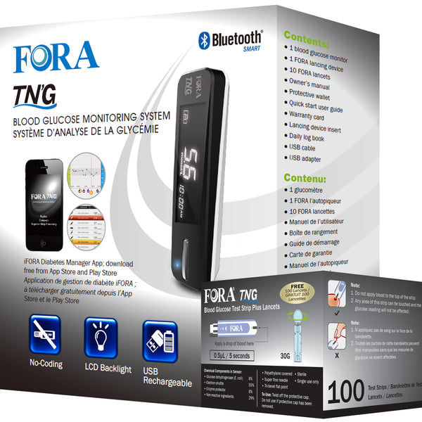 Fora TN'G Glucose Meter Strip Bundle