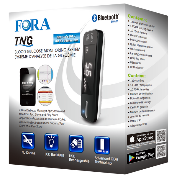 Fora TN'G(Test N'Go) Blood Glucometer Packaging