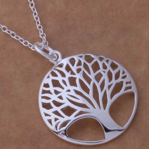 Necklace fashion 925 jewelry silver Pandant Fashion Jewelry silver plated  tree leaf plant - Necklace for Her