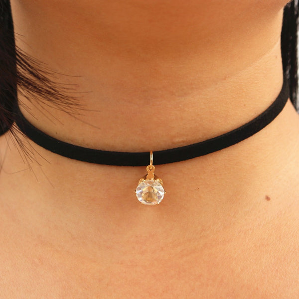 Choker Necklaces Women Black Velvet Suede Leather Chain - Necklace for Her