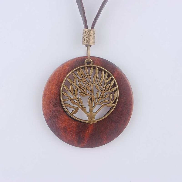 Life Tree Wooden Pendant Necklace Wood - Necklace for Her