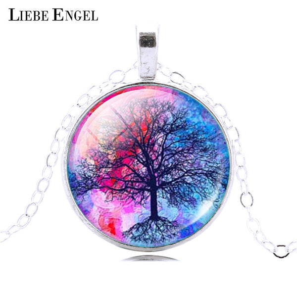 LIEBE ENGEL Fashion Life Tree Pendant Necklace Vintage Silver Color Chain Necklace in Jewelry Classic Glass Cabochon Necklace - Necklace for Her