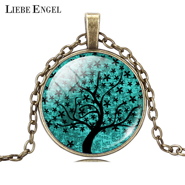 LIEBE ENGEL Life Tree Pendant Necklace Art Glass Cabochon Necklace Bronze Chain Vintage Choker Statement Necklace Women Jewelry - Necklace for Her