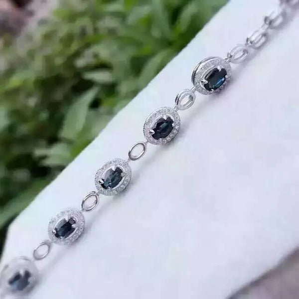 natural blue sapphire stone Bracelet Natural gemstone bracelet 925 sterling silver