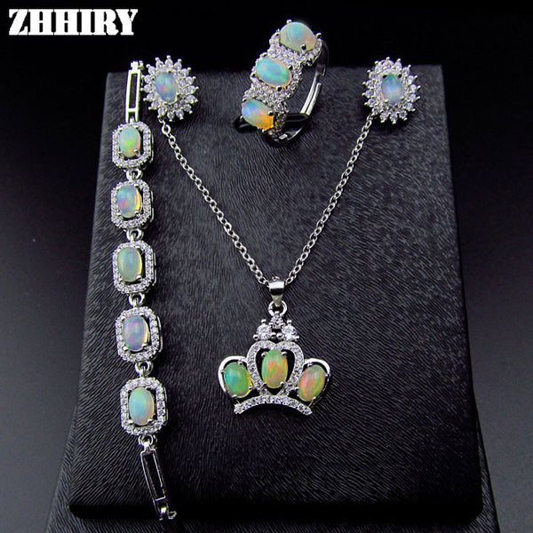 Natural Fire Opal Gemstone Jewelry Sets Genuine Stone Solid 925 Sterling Silver - Necklace for Her