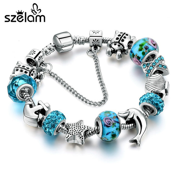 Ocean Style European Crystal Charm Bracelet For Women With Star Anchor Dolphin Beads - Necklace for Her